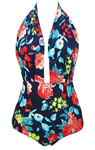 Avildove Halter Tankini Swimsuit Women Printed High Heck Bikini Two Pieces Bathing Suit FBA