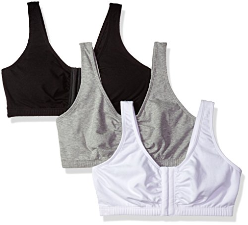 Fruit Of The Loom Women S Front Close Sports Bra Black White Heather Grey 42 Buycheappy