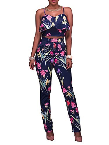 547549b2537e Yousun women s floral print sleeveless strap top casual bodycon stretch  high Waist Long Pants 2 Pieces Jumpsuit ...