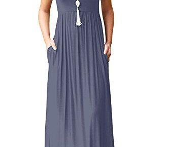 9cfac1bf62 Viishow Women's Short Sleeve Loose Plain Maxi Dresses Casual Long Dresses  with Pockets M, Purple Gray